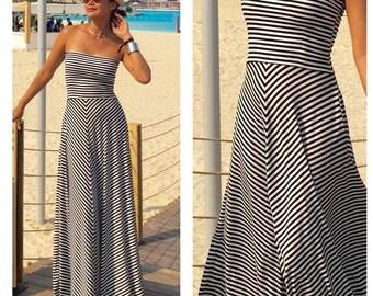 Black white striped strapless long maxi dress