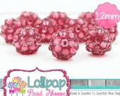 12mm DARK PINK RHINESTONE Beads Bumpy Beads Resin Bling Beads Pavé Beads Sparkle Berry Beads Sparkly Bubblegum Beads Bubble Gum Beads