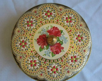 Vintage embossed floral tin container made in Holland round container made in Holland cloisonné mosaic style finial keepsake sewing storage
