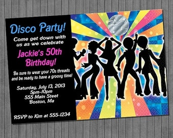 FLASH SALE 50% OFF Retro 70's Disco Fever Invitations