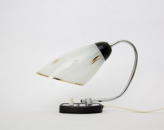 Vintage Lamp // 50's 60's table lamp // glass shade desk lamp