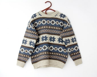 Vintage sweater // blue brown creme patterned hipster sweater