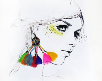 Free Shipping/Colorful Hippie Bohem Feathered  Earrings