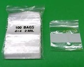100 CLEAR POLY BAGS ~ 4 in x4 in ~ 2 mil ~Zip Lock