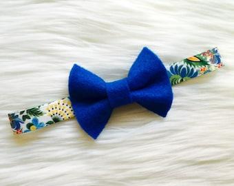 Blue Felt Headband.Felt Headband.Felt Bow.Felt Bow Headband.Floral Print Headband.Bow Headband.Blue Bow Headband.Blue Felt Bow.Baby Girl Bow