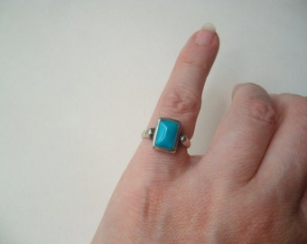 Vintage turquoise ring, sterling silver turquoise ring, square turquoise, blue turquoise, size 5 silver ring, size 5 turquoise, Southwestern