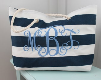 Personalized Beach Bag Large Tote Bag Bridesmaid Gift