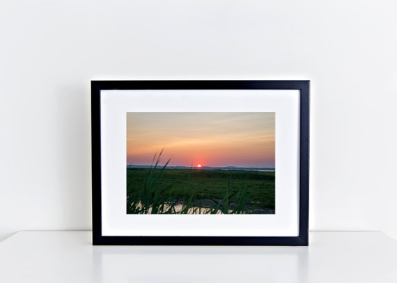 Summer Sunset // beach, plum island, marsh, coral, green, coastal, seashore, summer, wall art, home decor, fine art photography