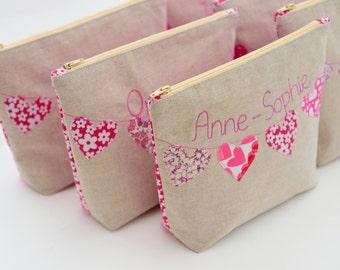 Personalised Cosmetic Bag - Heart Bunting, Bridesmaid gift, Maid of Honour, Wedding