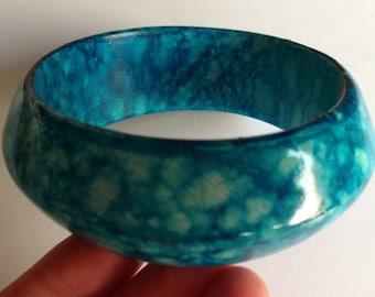 Bangle - chunky painted wooden bangle turquoise blue mottled design