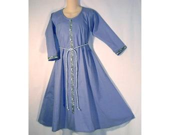 Girl Sz 8 Medieval SCA LARP Cotton Dress Gown w/ Jacquard Trim