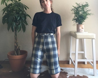 50s Style Plaid Wool Shorts