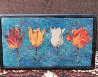 Vintage Black Pencil or Trinket Box with Painted Tulips Fine Art Image on Top