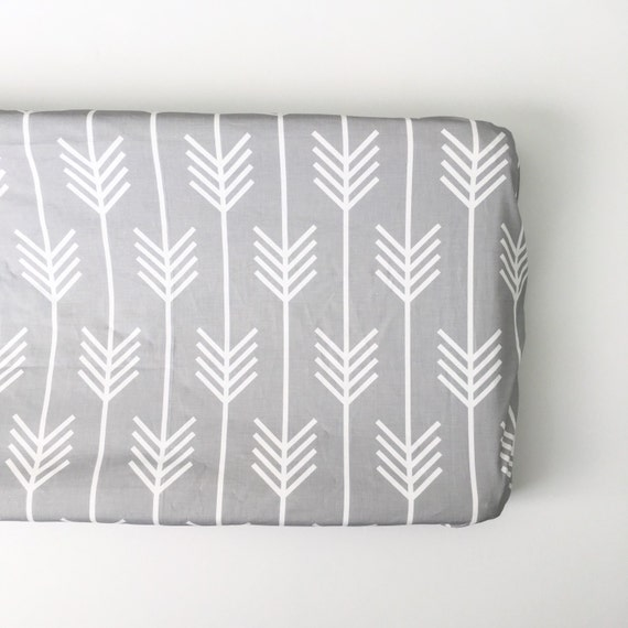 Fitted Changing Pad Cover in Arrows. Change pad. Changing Pad. Arrow Changing Pad. Gray Changing Pad.