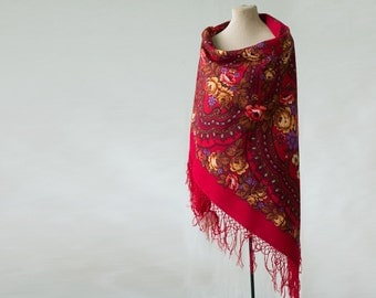 Russian shawl, rich red shawl with coral roses, piano shawl, bohemian throw, Russian scarf, warm wool shawl, winter shawlб new old stock