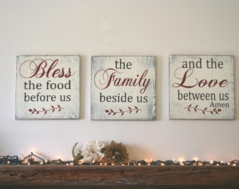 Bless The Food Before Us Wood Sign Dining Room Sign Wood Wall Hanging Wood Wall Decor Wedding Gift Bridal Shower Gift Housewarming Gift