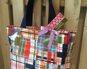 Oil Cloth Tote Bag in Patchwork/Madras Plaid and Orange Gingham