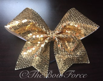 All Gold Sequin Cheer Bow