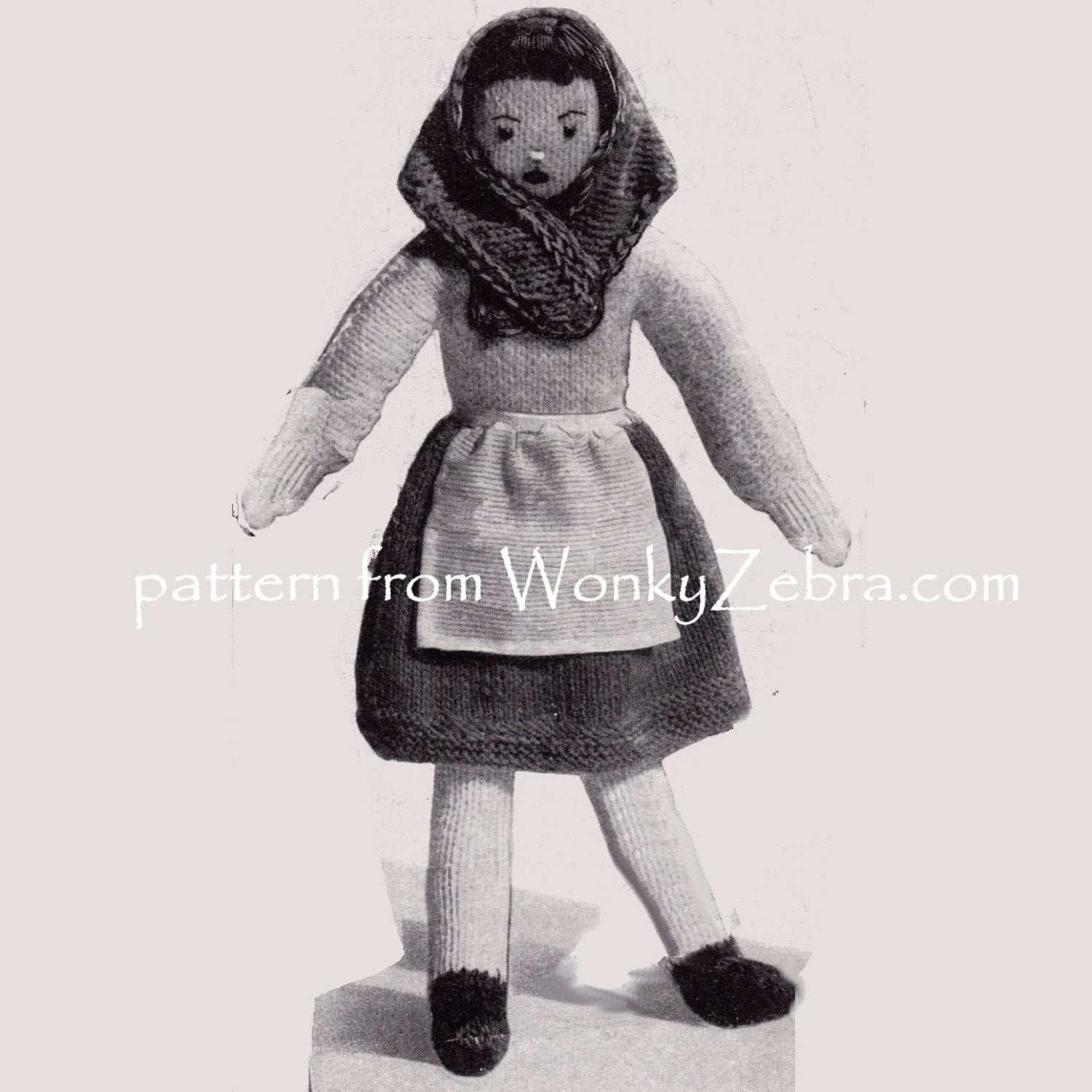 Vintage Knitted British costume dolls Knit by ToyPatternLand