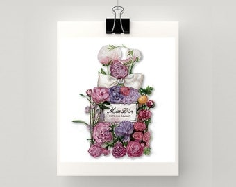 Reproduction PRINT of Miss Dior in bloom.  A watercolour print of my original