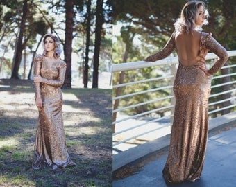 Rose Gold sequin open back prom dress/ long sleeve prom dress/ sequin wedding dress/ backless rose gold prom dress/ gold wedding dress/ prom