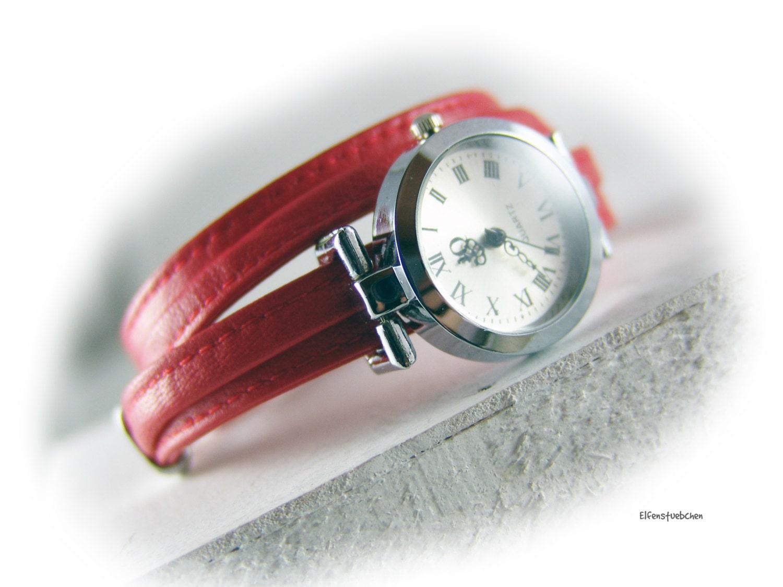 womens leather wristwatch silver wrap