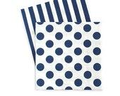 Navy Blue Cocktail Napkins (Set of 20) - Stripes & Polka Dots | Nautical