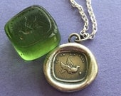 You have the key to my heart, French antique wax letter seal impression in sterling silver