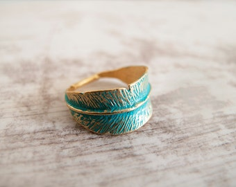 Feather Gold  Verdigris Ring - Adjustable ring - Gift for her