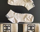 CHANEL Authentic CC Logo Nude Beige & Black Vintage Ankle Socks