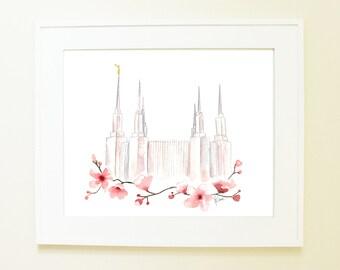 Washington D.C. LDS temple watercolor (featuring Washington D.C.'s famous cherry blossoms!)