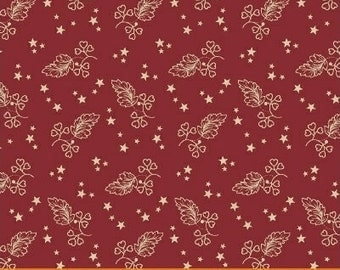 Windham Let Freedom Ring American Red with Cream Star and Leaf 40950-2 Fabric BTY
