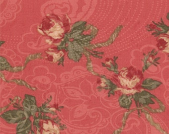 Moda Paris Flea Market Rouge Pink Red Small Floral 3 Sister's Gray Shabby Fabric BTY 1 Yd