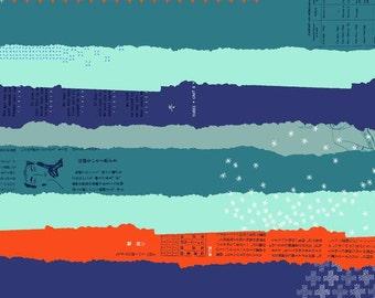 BeSpoke Double Gauze Ephemera Navy Red Blue Lightweight Cotton and Steel Fabric BTY
