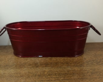 SALE!  Metal Container Bucket Pail Bin Planter - Decorative Ruby Red - Oval Oblong