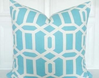 Turquoise Blue Pillow Cover - Decorative Pillow - Lattice - Trellis - Throw Pillow - Toss Pillow - 18x18, 20x20, 22x22 - Lumbar- Geometric