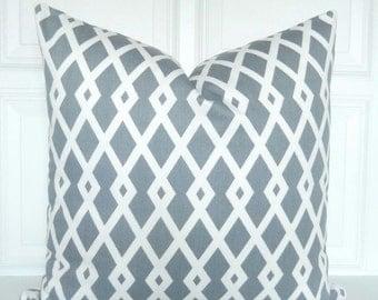 Grey Pillow Cover - Decorative Pillow - Lattice - Trellis - Geometric -  18x18, 20x20 - Lumbar - Throw Pillow - Toss Pillow - Gray