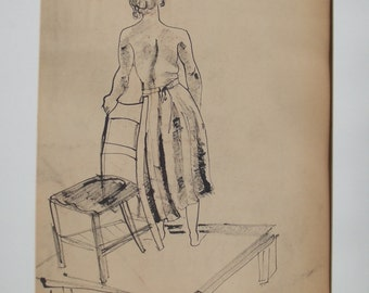 ORIGINAL INK DRAWING-Vintage Line Drawing Female Model