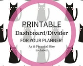 Printable Dashboard/Divider For Your Planner (A5 and Personal Size) - Cats