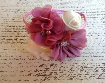 Mauve pink flower hard headband