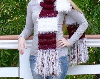 Scarf.knit scarf.Women scarf.Burgundy scarf. Hand knit Scarf. Stripe scarf