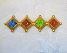 "Vintage Karl Lagerfeld Signed Large Brooch / ""Pate de verre"" Molten Colored Glass Inserts / Matte Gold Finish Setting"