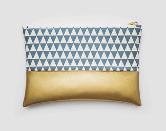Gold And Blue Vegan Leather Triangle Clutch / Pouch