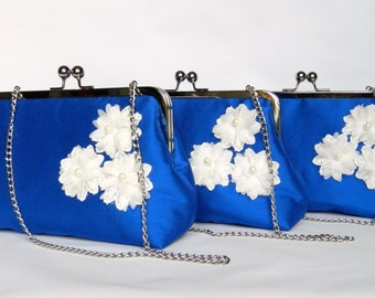 Set of 3 Personalised Clutch bags, Cobalt Blue and Flowers Clutch, Bridesmaids Clutch, Blue Floral Clutch, Bridesmaids Set, Wedding Clutch