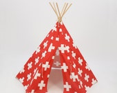 SALE!! Teepee Play Tent round wood poles included red and white large cross- 6 panel