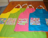 Aprons cheerful spring summer colors coordinating decorative pockets home garden shop craft yellow green pink or blue help save a cat/kitten