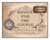 Steampunk Advice for the Couple Cards Printable Set 2 Files Wild West Wedding Old Fashioned Victorian Lined Cards Table Sign Aged Papers
