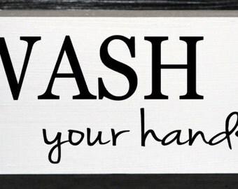 Wash your hands wood block - bathroom decor