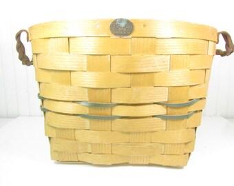 Vintage gathering basket,peterboro,collectable basket, orchard basket, country,basket,woven basket,wicker,storage basket, leather handle