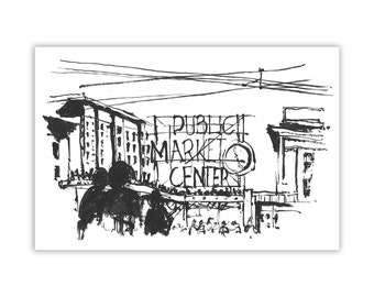 """Hand Drawn, Pen and Ink, Urban Sketch of Pike Place Market, Seattle Art Print,  8""""x12"""" Giclee Print of Original Sketchbook Illustration"""